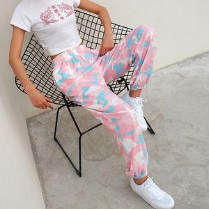 HIGAREDA 여성 브랜드 Pantalon 팜므 핑크 위장 스웨트 팬츠 니트 운동 바지 캐주얼 느슨한 레이디 바지 조깅 201012