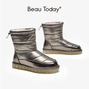 BeauToday Yün Kar Boots Kadınlar Yuvarlak Burun Geri Kayış Kış Sıcak Bayanlar Kürk Ayakkabı Slip-On El Yapımı 08023
