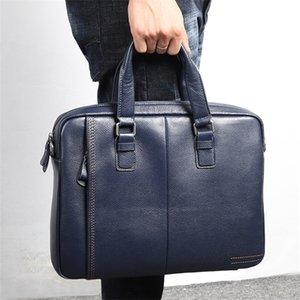 Nesitu Promotion A4 Noir Café Bleu Genuine Leather Porte-documents Bureau Hommes d'affaires Portefeuille épaule Messenger Sacs M255605 Q1104