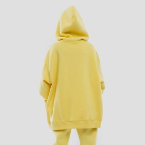 GCAROL Fall Winter Women Extra Long Hooded 80% Cotton Fleece Candy Jersey Drop Shoulder Oversized Boyfriend Style Sweatshirt 201105