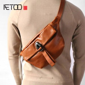 AETOO The first layer of leather retro fashion chest bag leather cross-body shoulder shoulder bag small men's bag