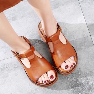 2019 summer new women sandals women thick bottom Handmade genuine leather casual flat bottom sandals platform sandals Y200702
