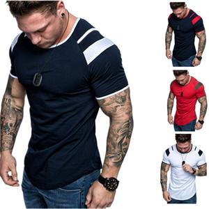 Hommes Designer T-shirts Été Mode Slim Col Couche à manches courtes T-shirts Casual Patchwork Hommes Pullover Top