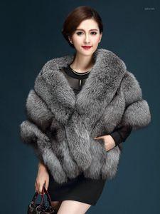 Shawl Faux Fur Batwing Women Winter Warm Fluffy Shaggy Coat Long Ponchos Capes Warm Woman Designer Coat 2019 Real Photo1