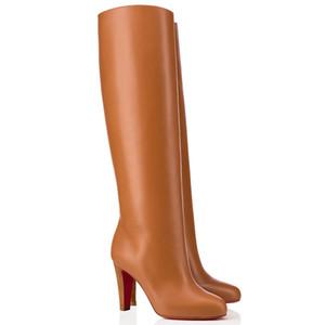 Winter-Frau Lange Booties Red Bottom Boot Luxurys Red Soles, Dorififa Leder und Wildleder Hohe Stiefel Schwarz Blau-Partei-Kleid Geburtstags-Geschenk