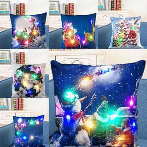 LED Light Luminous Pillow Case Linen Pillow Covers Cushion Cover Christmas XMAS Pillowcase Home Sofa Car Decor WX9-1506
