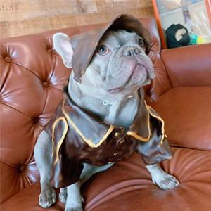 Мода Марка Dogs куртка с шапкой Классического Письмо для печати домашних животных Кожи PU Пальто Teddy шнауцеры щенка Outerwears Животные Одежда