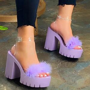 Nausk Beach Sandals Sandali Signore Banchetto Nuove Donne Donne Pelliccia Gomma Alto tacco alto Sandali All'aperto Tempo libero Buckle Zapatos Mujer # 176F