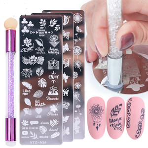 Nail Stamping Plates Set Silicone Sponge Brush Polish Transfer Stencils Flower Geometry DIY Template for Nail Tool CHSTZN01-12-2