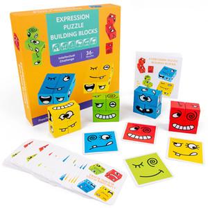 En bois Montessori EXPRESSION PUZZLES PUZZLES Toy Building Block Face Changer de pensée Training Enfants Enfants Education Toy Education Toy 1020