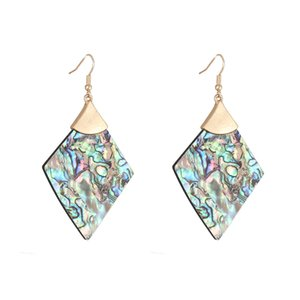 Natural Abalone White Shell Quatrefoil Cross Floral Statement Earrings Brand Design Round Rhombus Geometric with Gold Metal Dangle Earrings
