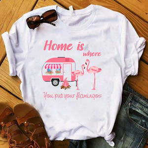 2021 Women Shirt Short Sleeve Printing Graphic Printed Flamingo Home Tee Kawaii Womens Top Tshirt Female Fashion T shirt