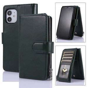 zipper Luxury Flip Stand Wallet Leather cellphone case PhotoFrame Phone Cover phone case For iPhone 12 11 pro max XS Max XR 8