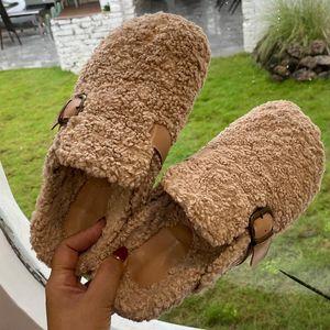 Women Slippers Causal Flats Outdoor Ladies Slides Fashion Winter Autumn Fur Mules Female Furry Flip Flops Woman Flats Shoes