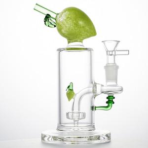 En Yeni Renkli Şeftali Cam Bong Meyve Bowl Yağ Dab Kuleleri Showerhead Perc Sigara bonglar Sigara Su Boruları 14mm Kadın Ortak percs Şekle