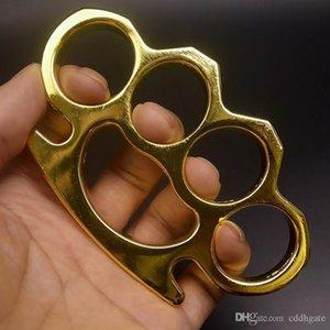 Novo ferro gilded gilded de aço de bronze de aço espanço de alumínio de alumínio tigre de dedo de quatro dedos anel de auto-defesa clasp fist 5252