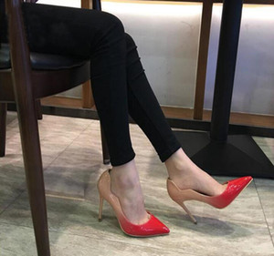 2021 NOUVEAU Style Red Fond High High High Chaussures Chaussures de mariage Chaussures Party Chaussures pointues Toe Toile Sexy Womans Semelle rouge avec boîte