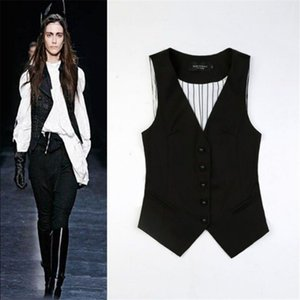 Vest Mulheres Splice Único Breasted mangas Jacket formal fêmea Sans Manches Stripe Coletes Mairuker Suit Colete W91167