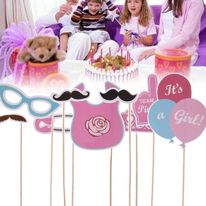 30pcs Foto Puntelli Photo Photo Photo Pronop Feeder Balloon Boy Girl Gender Rivelare Baby Shower Party Cake Topper Decorazione Forniture GWC3084
