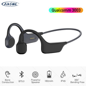 AIKSWE Bone Conduction Headphones Bluetooth الرياضة اللاسلكية سماعات IPX6 سماعة ستيريو خالية من الأيدي مع ميكروفون لتشغيل Q0109