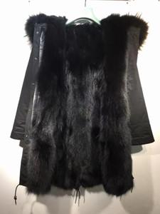 Classic Mukla furs brand black raccoon fur trim hoody black fox fur lining black long women parkas female snow jackets