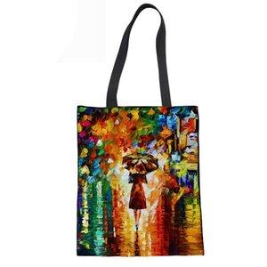 Borse Canvas Tote tela della borsa morbida Beach Bags pieghevole riutilizzabile Shopping a mano per la pittura Donne Borsa a tracolla olio Stampe