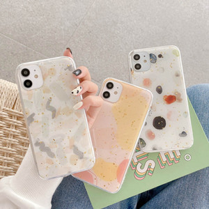 Luxury Geometric Gold foil Marble Graffiti Phone Case For iPhone 12 11Pro MAX SE XS MAX XR X Gold Powder Soft Epoxy Cover