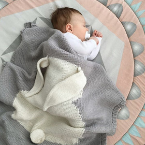 1pc Baby Blankets Swaddle Baby Wrap Knitted Blanket For Kid Rabbit Cartoon Plaid Infant Toddler Bedding Swaddling free shipping wholesale