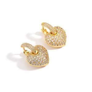 Luxury Tiny Small CZ Heart Earrings for Women Vintage Cubic Zirconia Drop Earring Gold Color Full Crystal Wedding Jewelry