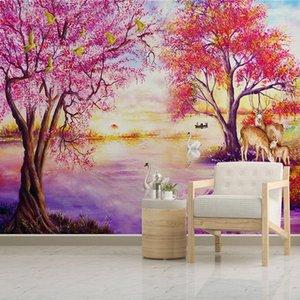 Orman Ağacı Elk Kuğu Gölü Fotoğraf Resim Salon Yatak Odası Boyama Özel Duvar Resmi Ev Dekorasyonu Wallpaper Avrupa Tarzı Yağı