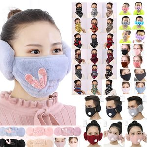 Máscara 2 em 1 Máscara Facial Tampa Com Plush Ear Protective PM2.5 quente grossa Boca Máscaras Inverno Boca-Muffle Earflap