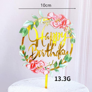 Cake Topper Light Flower Happy Birthday Cake Inserted Card Acrylic Elegant Font Birthday Party Baking Decoration Supplies SEA PPC5327
