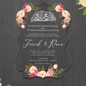 Customize Personalized Print Wedding Acrylic invitations personalized faire part mariage invitation de boda wedding cards acrylic invitation
