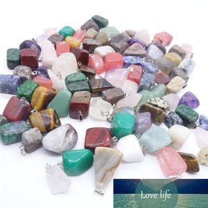 hot sale 100pcs lot mixed Point Natural stone powder crystal Irregular shape charms pendants mulit color jewelry pendants