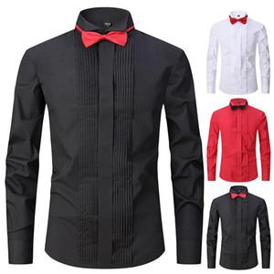 Pure black performance shirt men's long sleeve stage party chorus Dress Adult host bow tie dress shirt