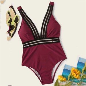 Katı V Boyun Bikini Yastıklı Seksi 2021 Mayo Mayo Kadınlar Için Tek Parça Yüzme Suit
