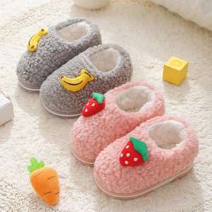 Kış Çocuk Kız Sevimli Meyve Print Kapalı Ev Kalın Fleece Kürk Sıcak Ayakkabı Boys Çocuk Gündelik Giyim Bebek Pamuk Terlik