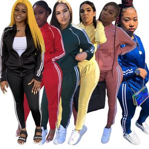 Femmes Casual SweatSuit Jacket 2 pièces Ensemble Solid Couleur Jogger Costume à manches longues + Leggings Automne Vêtements d'hiver Plus Tenue de taille 4371