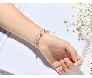 925 Sterling Silver Strawberry Quartz Beads Bracelets For Women Pink Crystal Bracelets Fashion Fine Jewelry
