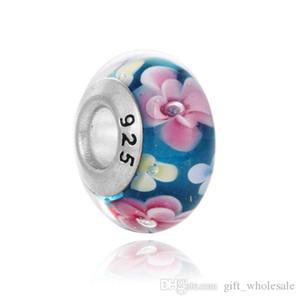 14x8mm, Rondelle, Murano Bracelet Perle européenne, Lampwork verre dichroïque Perle en verre dichroïque Lampwork Argent 925 Marqué