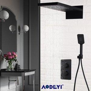Aodeyi murale en laiton noir Salle de bain thermostatique douche robinet cascade de pluie Pomme de douche Robinet de baignoire bbyJYg lg2010