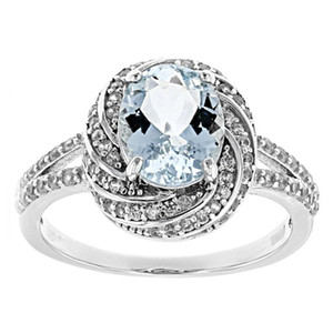 UUE Jewelry Aqua Blue cubic zirconia Rhodium over silver rings Silver Luxury ring Best Christmas gift for women
