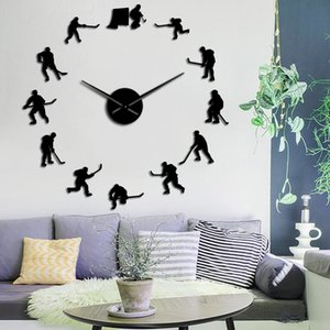 Hockey Sport Wall Hanging DIY Large Wall Clock Ice Hockey Players Silhouette Mirror Stickers Home Decor Wall Watch Gift For Man 201118