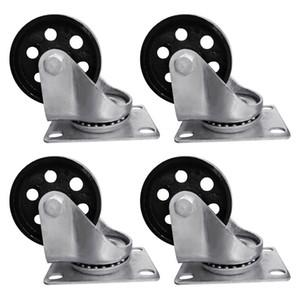 """4 шт. 3.5 """"Сверхмощные стальные пластины чугунные ролики поворотного металла Промышленное колесо"""