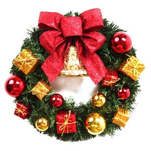 12 Inches Christmas Bow-knot Wreath Golden Dell Decor For Holiday Party ,Door Wreath For Front Door dropship#