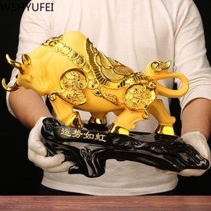 Ornements vache en résine Bull Statue Big Wall Street Fierce Bull Sculpture Accueil Salon Salle d'étude Mascot Décoration Accessorie