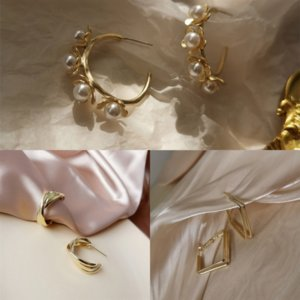XfL zircon inlaid micro bow ring drops earrings water female earring animal needle temperament small daily yellow