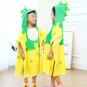 Все Hood можно носить ванны Мыса чистого хлопка Детский Printed Халат Velvet пляжное полотенце младенца Dinosaur VJ04