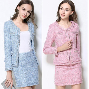 Skirt Suits Women Runway Designer Elegant Office Lady Formal Tweed Wool Blazer Jacket Mini Skirt 2 Piece Sets 2021 Autumn Winter