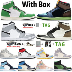2021 mit Box Jumpman 1 1s Herren Basketballschuhe Lucky Green Tokio Bio Hack Dark Mokka UNC Chicago Obsidian Sneakers Trainer Größe 13
